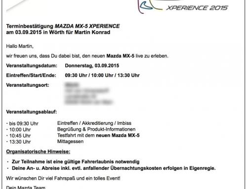 Einladung zur Mazda MX-5 Xperience 2015